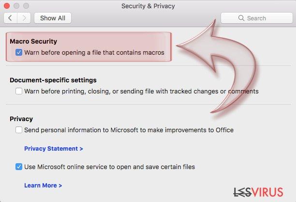 Disable Macros on Mac OS X. Step 3