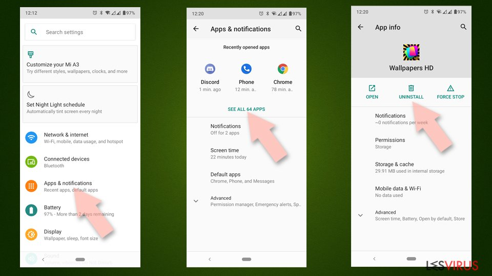 Uninstall from Android