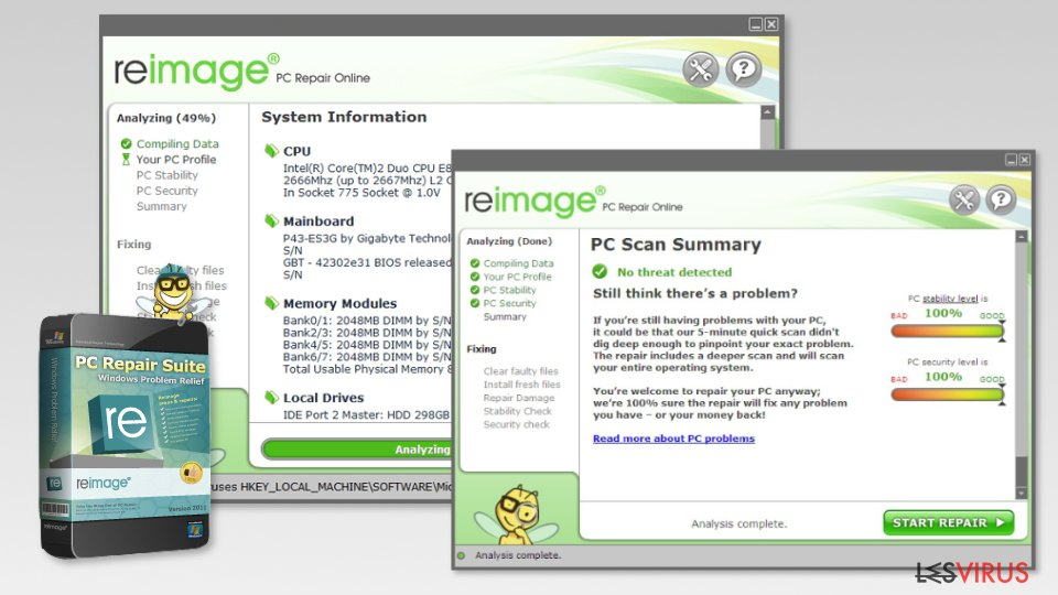 Screenshot of Reimage