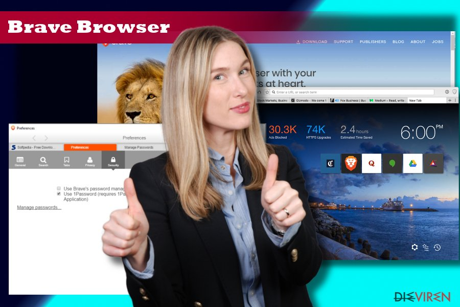 Showing Brave browser's start page