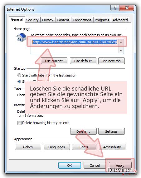 Löschen Sie die schädliche URL, geben Sie die gewünschte Seite ein und klicken Sie auf 'Apply', um die Änderungen zu speichern.