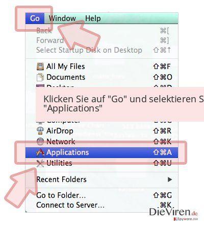 Klicken Sie auf 'Go' und selektieren Sie 'Applications'
