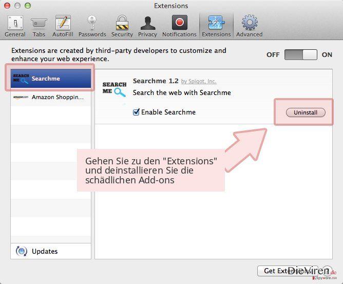 Gehen Sie zu den 'Extensions' und deinstallieren Sie die schädlichen Add-ons