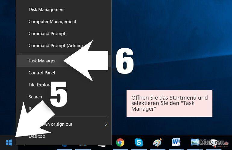 Öffnen Sie das Startmenü und selektieren Sie den 'Task Manager'