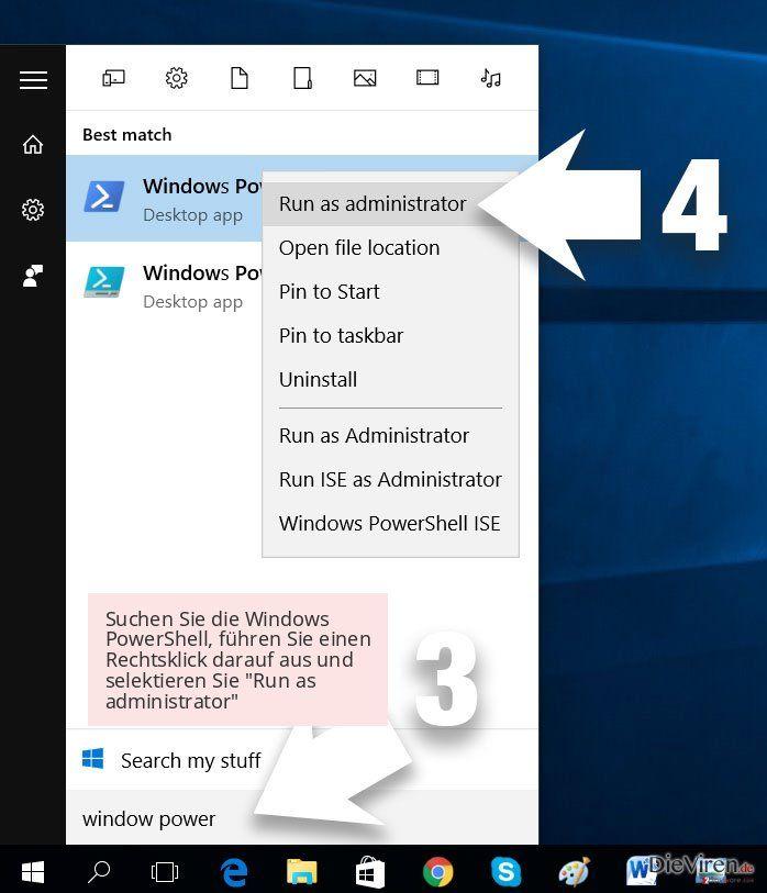 Suchen Sie die Windows PowerShell, führen Sie einen Rechtsklick darauf aus und selektieren Sie 'Run as administrator'