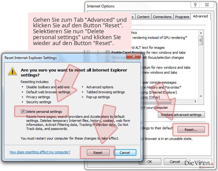 Gehen Sie zum Tab 'Advanced' und klicken Sie auf den Button 'Reset'. Selektieren Sie nun 'Delete personal settings' und klicken Sie wieder auf den Button 'Reset'.