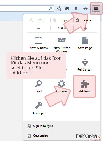 Klicken Sie auf das Icon für das Menü und selektieren Sie 'Add-ons'.