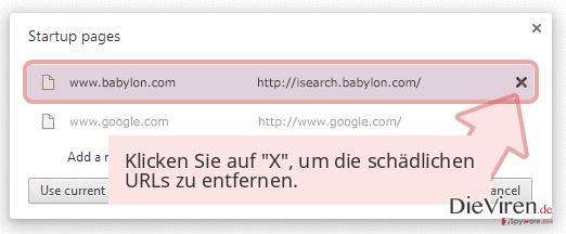Klicken Sie auf 'X', um die schädlichen URLs zu entfernen.