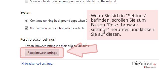 Wenn Sie sich in 'Settings' befinden, scrollen Sie zum Button 'Reset browser settings' herunter und klicken Sie auf diesen.