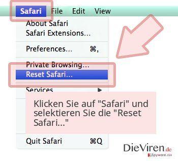 Klicken Sie auf 'Safari' und selektieren Sie die 'Reset Safari...'