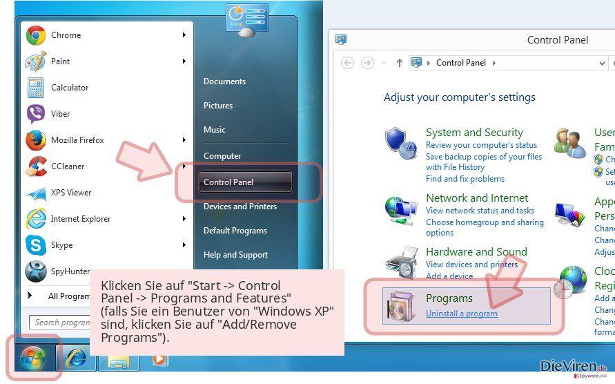 Klicken Sie auf 'Start -> Control Panel -> Programs and Features' (falls Sie ein Benutzer von 'Windows XP' sind, klicken Sie auf 'Add/Remove Programs').