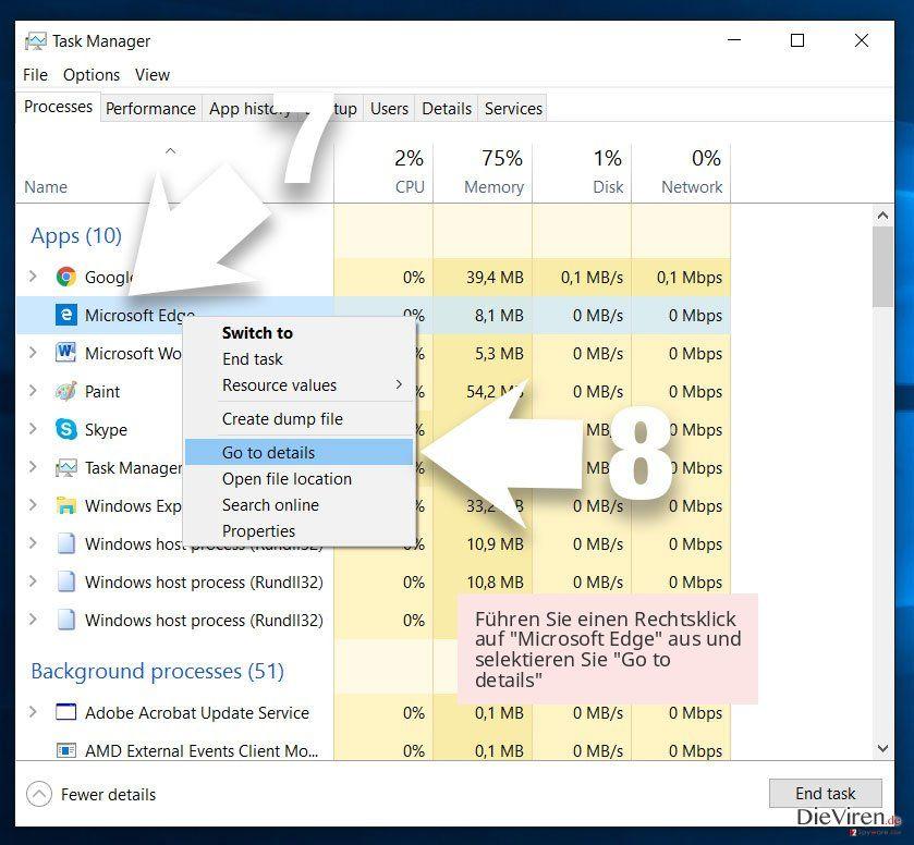 Führen Sie einen Rechtsklick auf 'Microsoft Edge' aus und selektieren Sie 'Go to details'