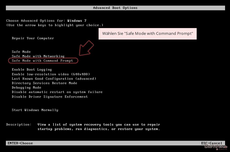 Wählen Sie 'Safe Mode with Command Prompt'