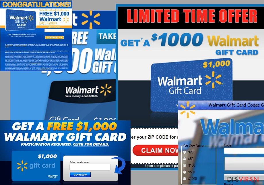 """$1000 Walmart Gift Card Winner""-Anzeigen"