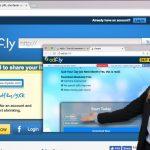 Die Webseite adf.ly und ein Anzeigen-Beispiel für das Erfragen von persönlichen Informationen.