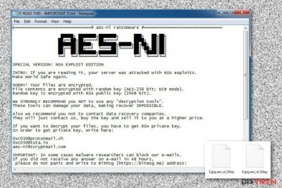 Erpresserbrief des .Aes_ni_0day-Virus