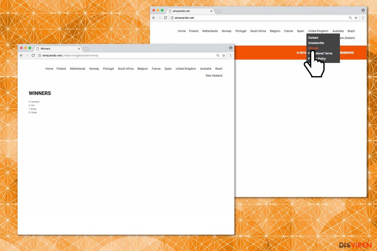 Abbildung der Webseite Amazando.co