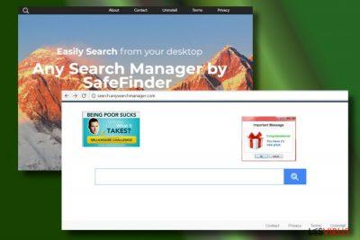 Die Abbildung zeigt einen von Any Search Manager gehijackten Browser