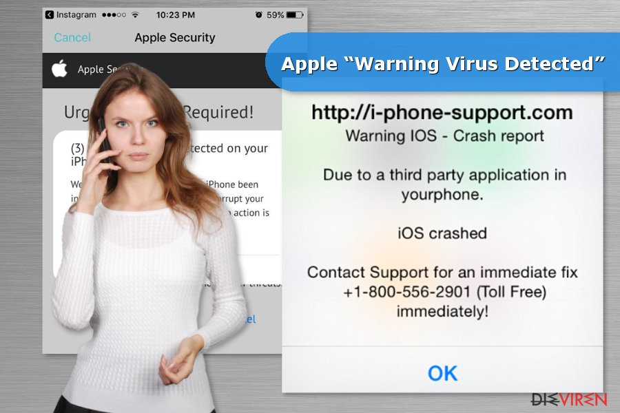 "Beispiel Apple ""Warning Virus Detected""-Betrugsmasche"