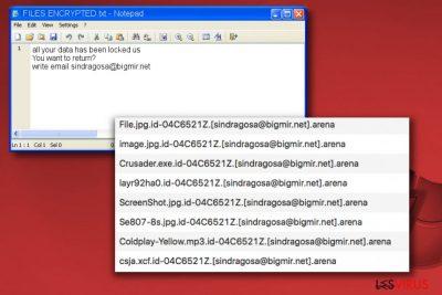 Mitteilung der Arena-Erpressersoftware FILES ENCRYPTED.txt