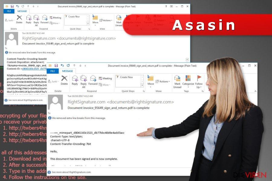 Spammails, die die Asasin-Erpressersoftware verbreiten