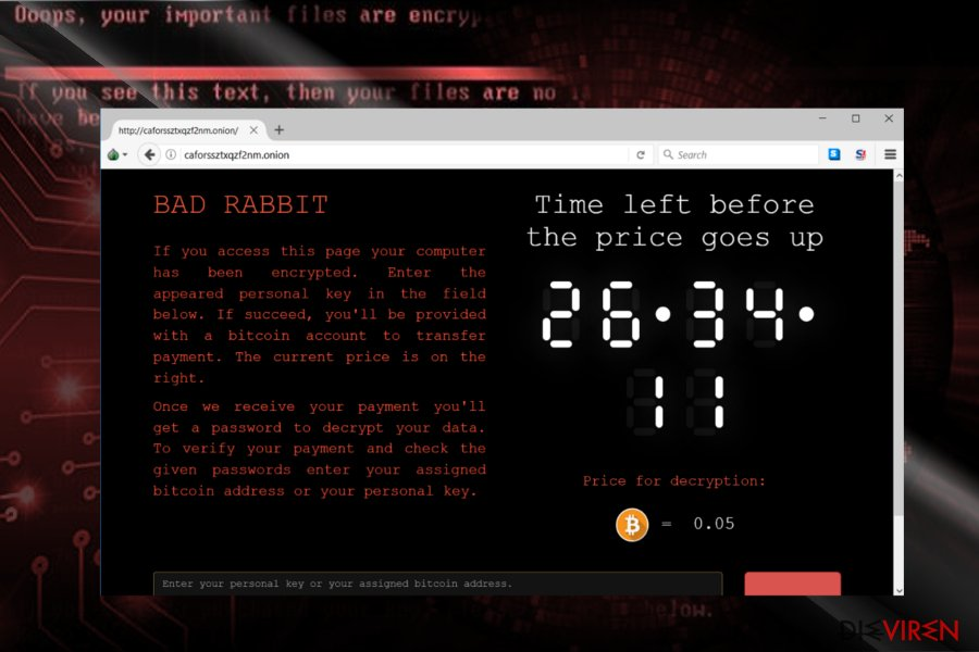 Bad Rabbit ransomware virus