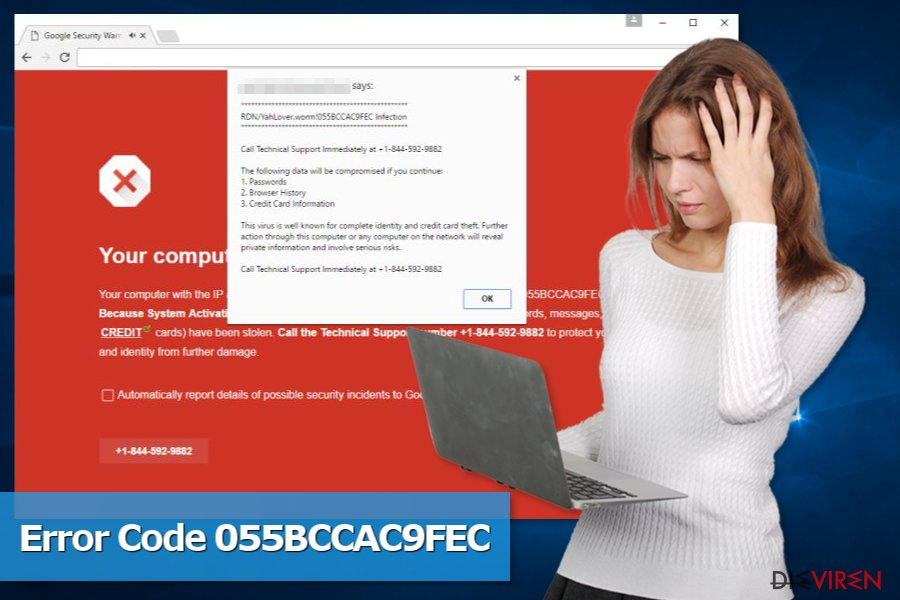 """Abbildung der Supportbetrugsmasche """"Code 055BCCAC9FEC"""""""