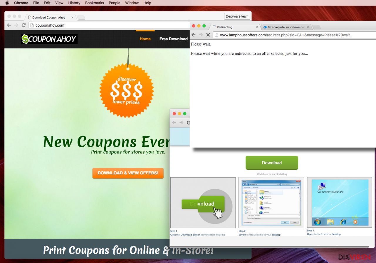 Coupon Ahoy virus installation page screenshot