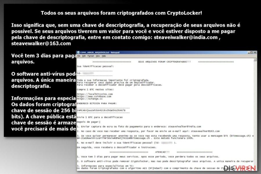 Portugiesische Version der Crypton-Ransomware