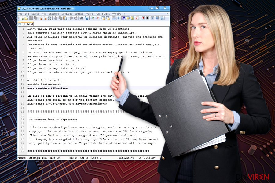 Screenshot des Defray-Erpresserbriefes