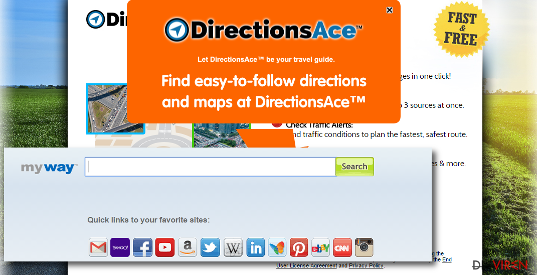 DirectionsAce Toolbar virus hijacks web browsers