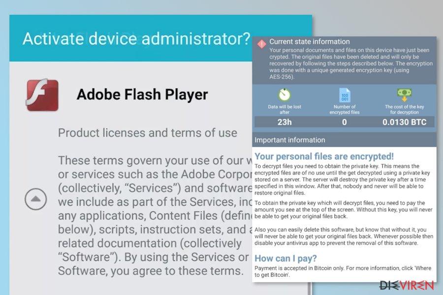 Abbildung DoubleLocker-Erpressersoftware