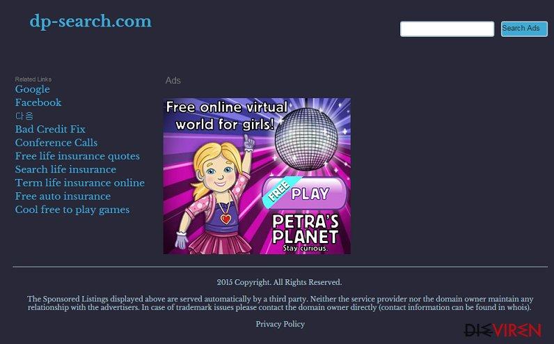 Dp-search.com-Weiterleitungsvirus-Screenshot