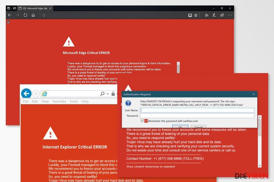 Examples of Critical ERROR scam