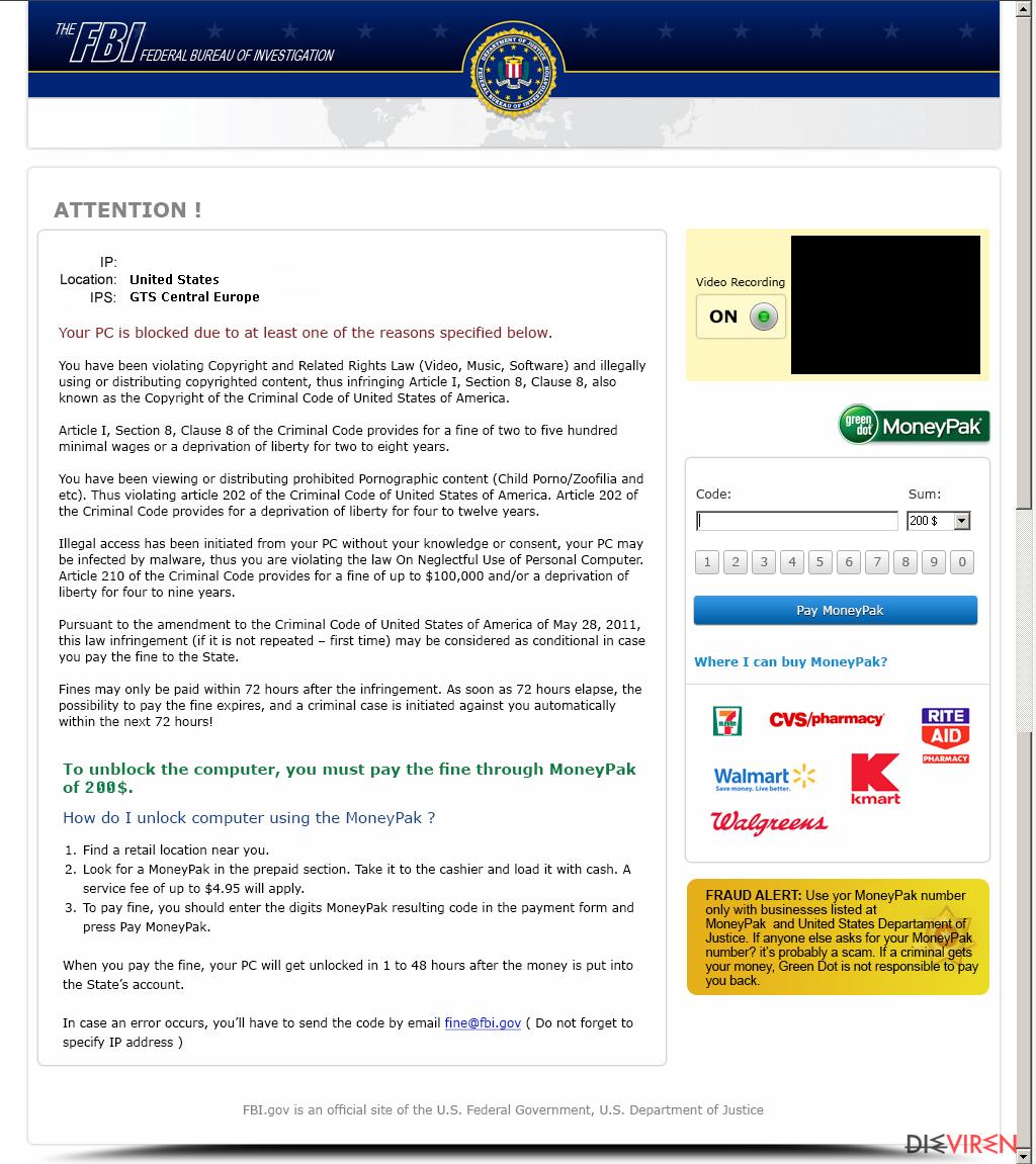 Entfernung von FBI Moneypak-Screenshot