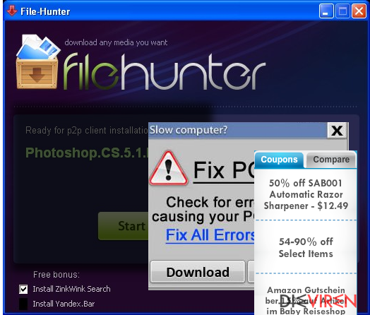 FileHunter virus displaying pop-up advertisements