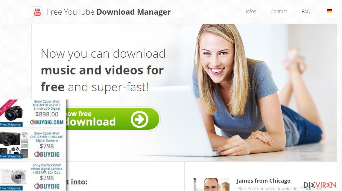 Free Youtube Download Manager virus sends ads