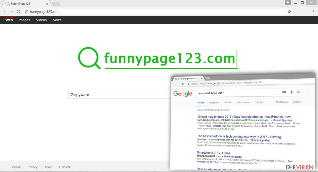 The Screenshot of Funnypage123.com virus