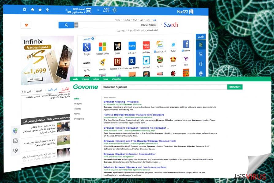 Bildschirmphotos von Hao123 Hauptseite und Suchergebnisse
