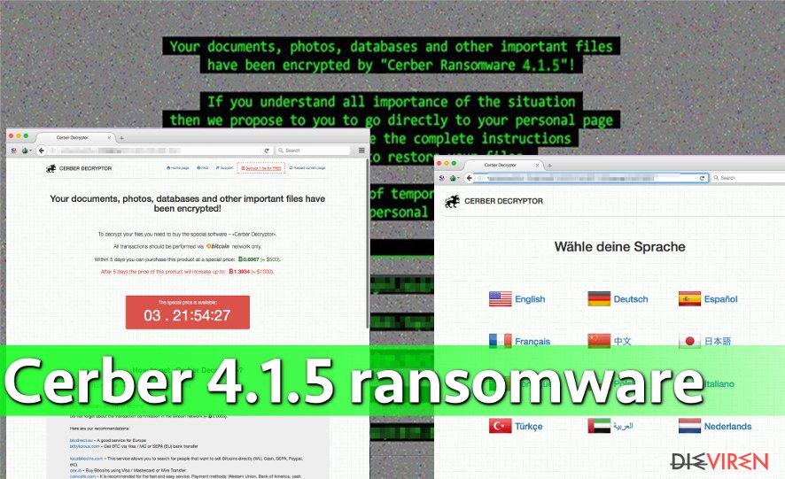 Image showing Cerber 4.1.5 virus attack
