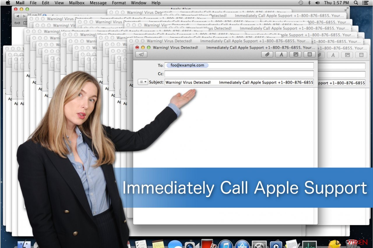 "Illustration ""Immediately Call Apple Support""-Betrugsmasche"
