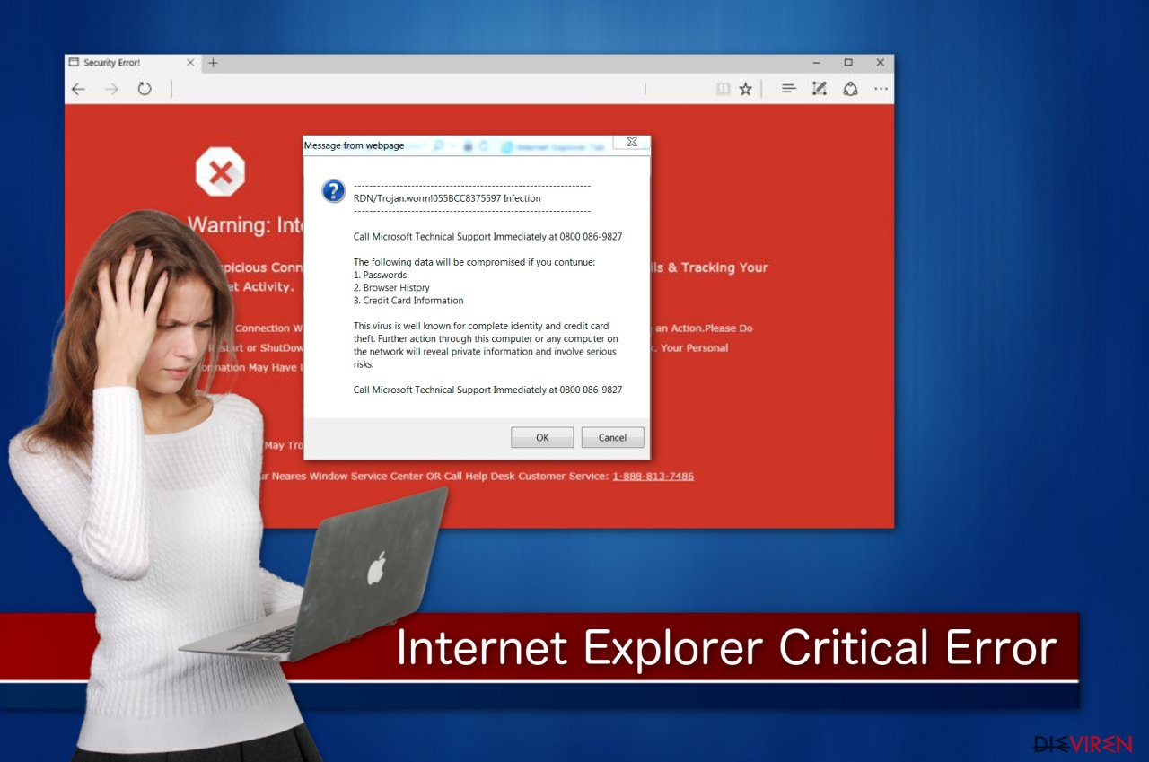 """Internet Explorer Critical ERROR""-Betrugsmasche"