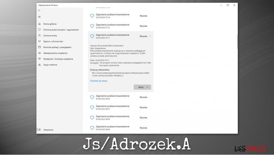 Die Malware Js/Adrozek.A