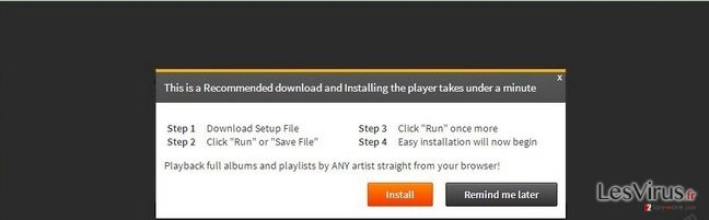 'Infected files have corrupted your Flash Player'-Virus-Screenshot
