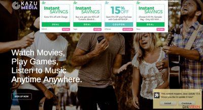 Abbildung der offiziellen Webseite und den Anzeigen von Kazu Media