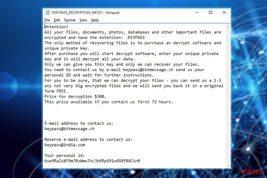 Der Erpresserbrief der Keypass-Ransomware