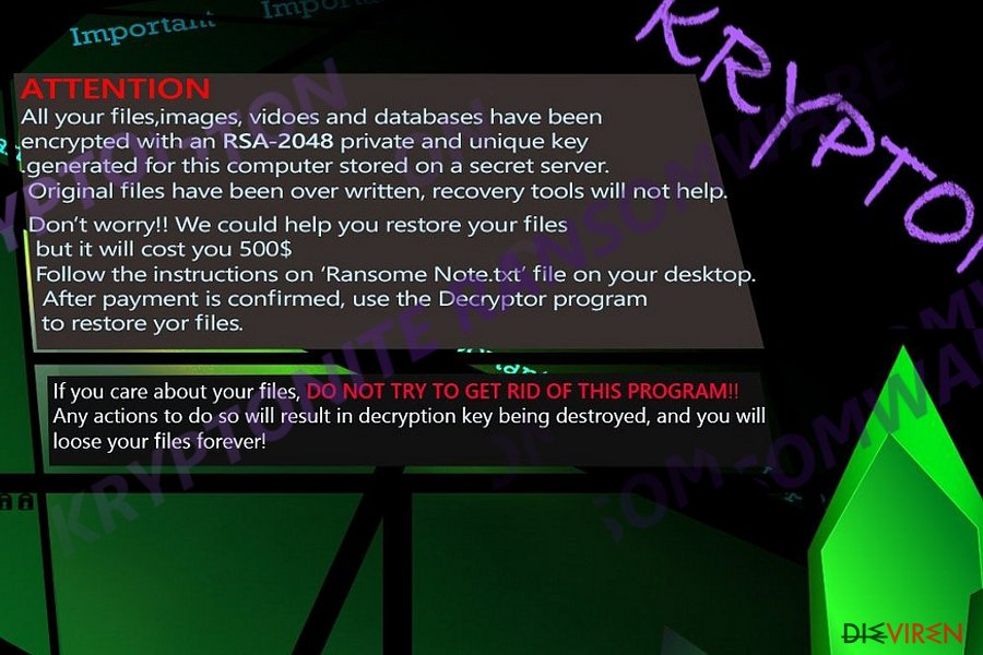 Abbildung Kryptonite-Erpressersoftware