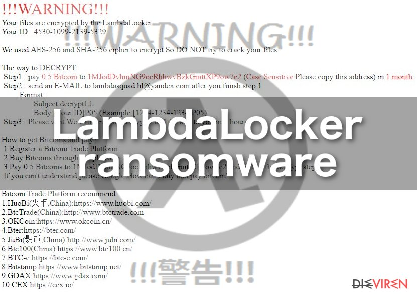 Image of the LambdaLocker ransomware virus