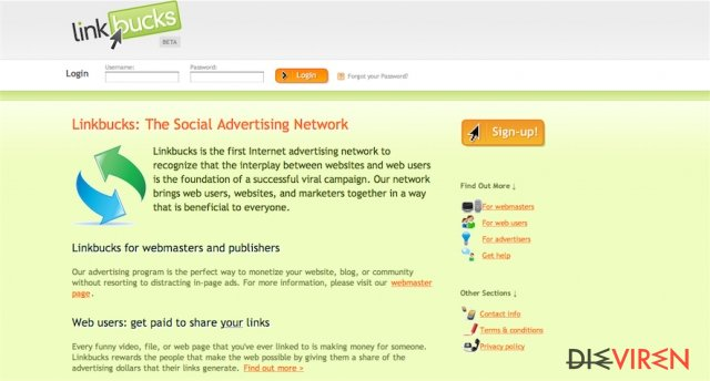 Linkbucks.com Virus-Screenshot