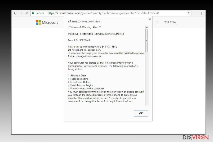 """Malicious Pornographic Spyware/Riskware Detected""-Virus-Screenshot"